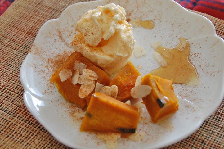 かぼちゃ アイスクリーム添え