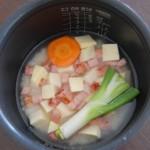 ベーコンとさつまいもの炊き込みご飯