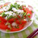 トマトとらっきょうで作ったサラダ